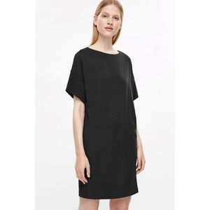 COS Black T-Shirt Dress With Silk Cuffs S/…